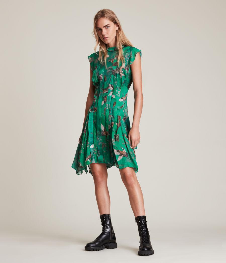 Women's Fleur Amare Silk Blend Dress (velvet_green) - Image 1