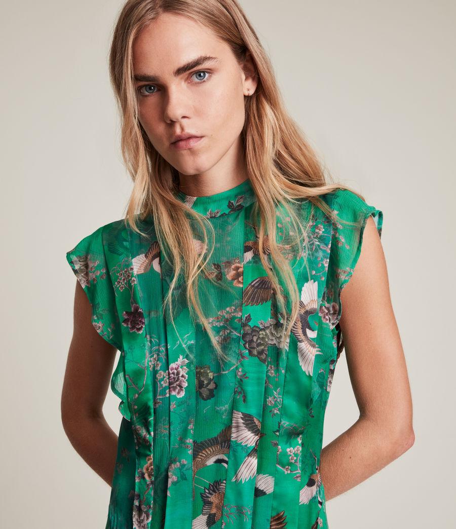 Women's Fleur Amare Silk Blend Dress (velvet_green) - Image 2