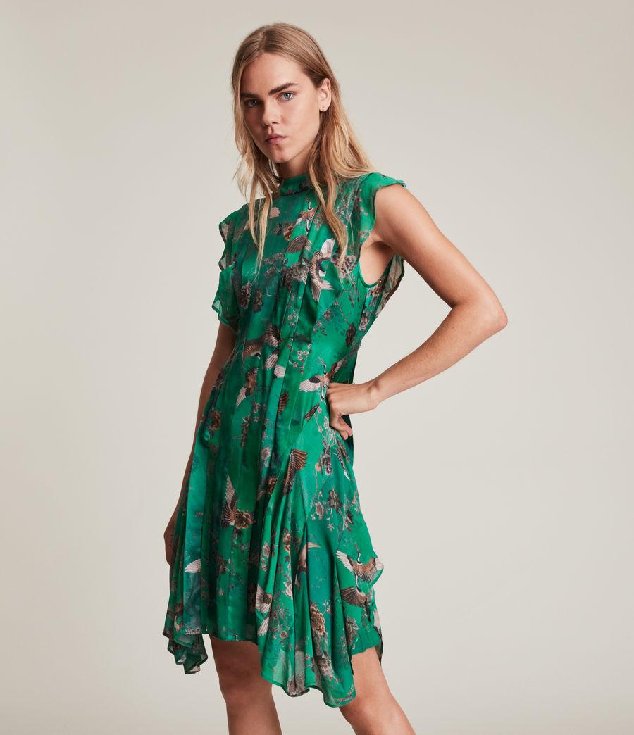 Women's Fleur Amare Silk Blend Dress (velvet_green) - Image 3