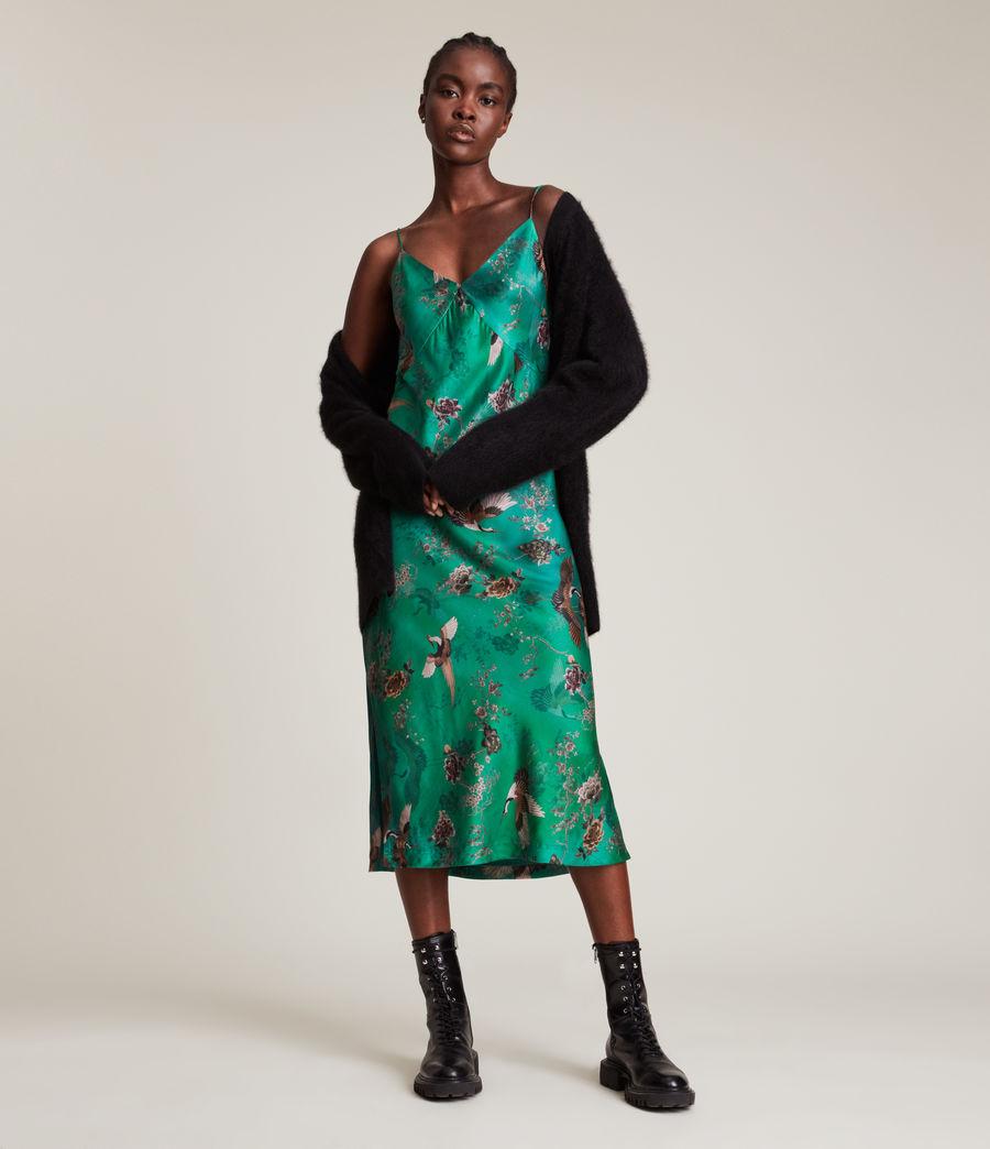 Women's Melody Amare Silk Blend Dress (velvet_green) - Image 1