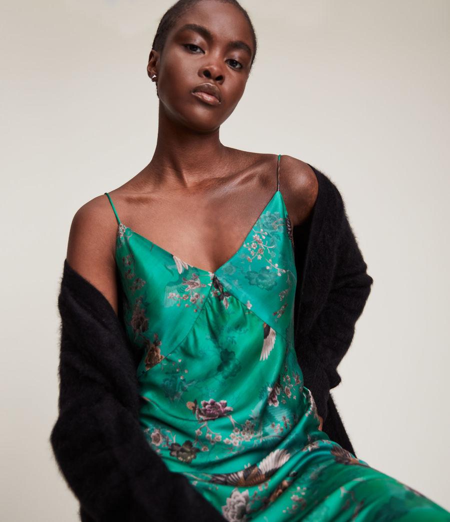 Women's Melody Amare Silk Blend Dress (velvet_green) - Image 3