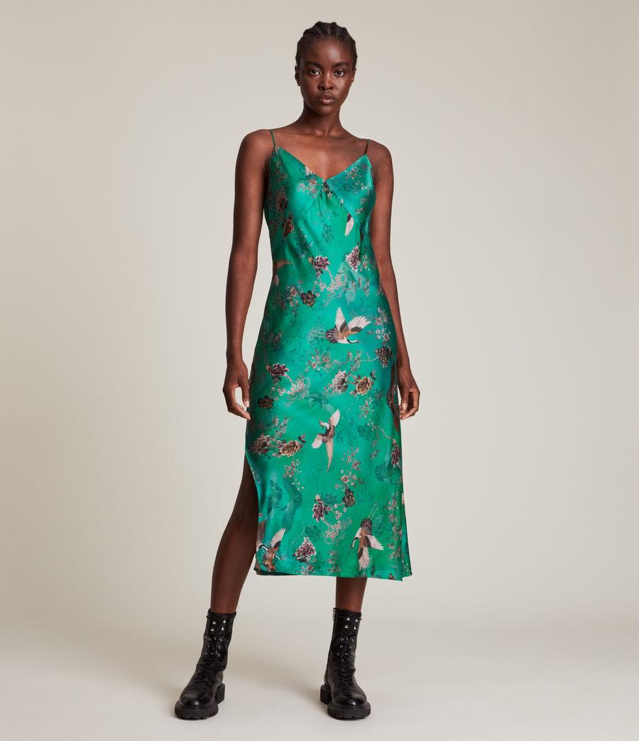 Women's Melody Amare Silk Blend Dress (velvet_green) - Image 4