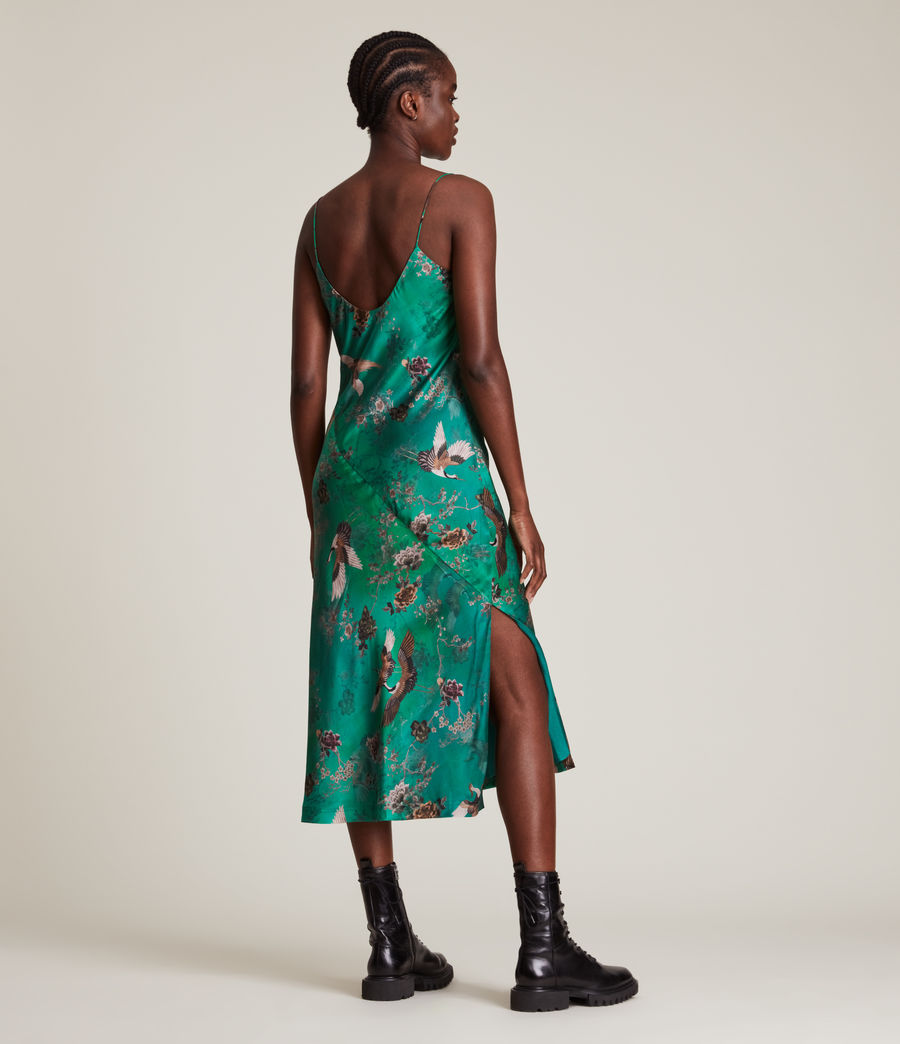Women's Melody Amare Silk Blend Dress (velvet_green) - Image 7
