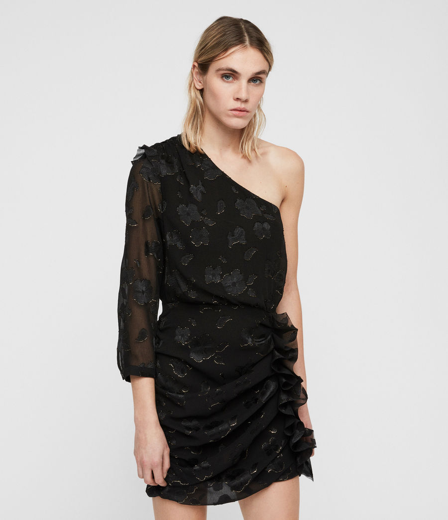 Damen Maddie Flora Kleid (black_gold) - Image 1