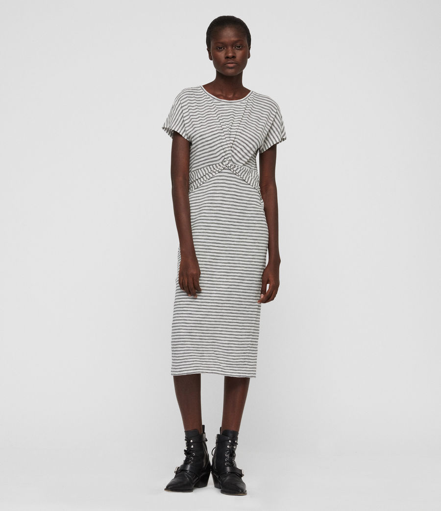 Women's Paloma Stripe Dress (ecru_black) - Image 1