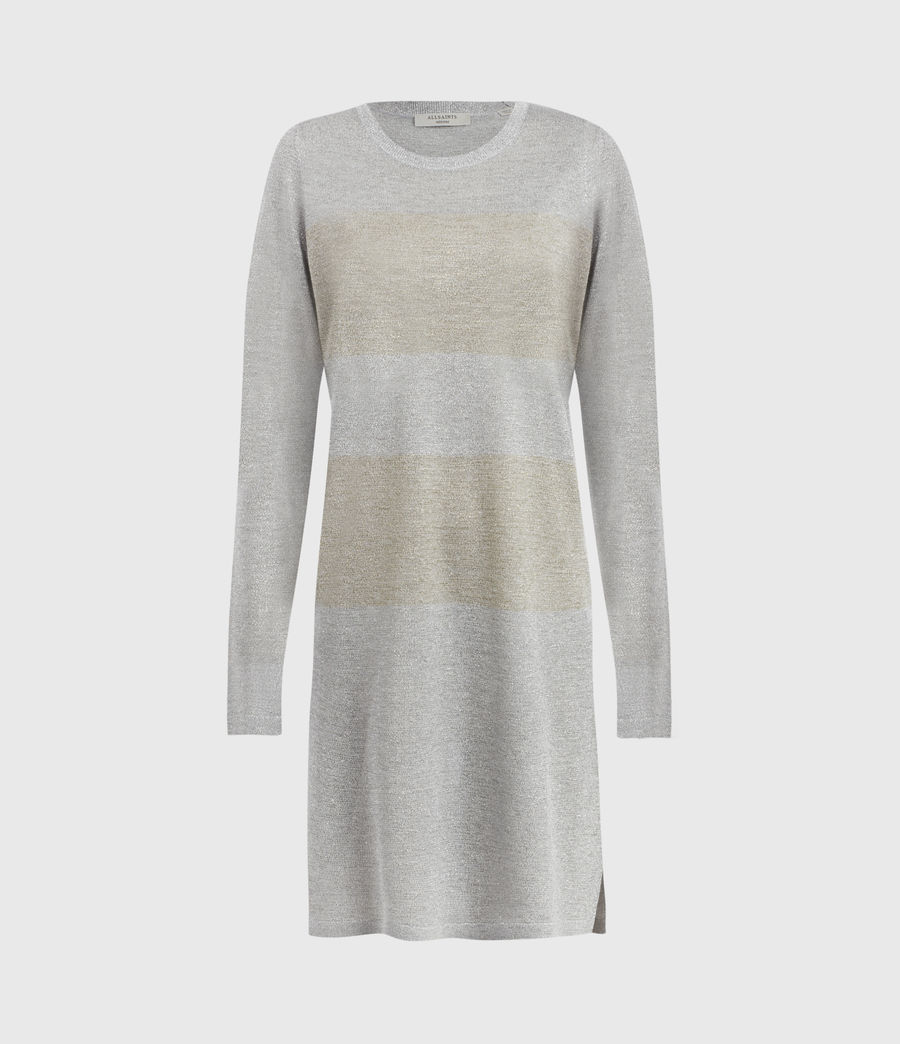 Womens Sparkle Stripe Dress (silver_gold) - Image 2