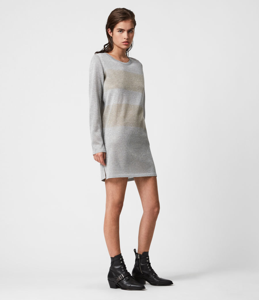 Womens Sparkle Stripe Dress (silver_gold) - Image 4