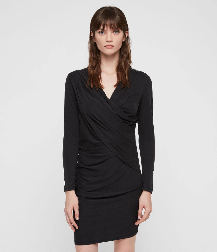 Women's Sofia Jersey Dress (black) - Image 4