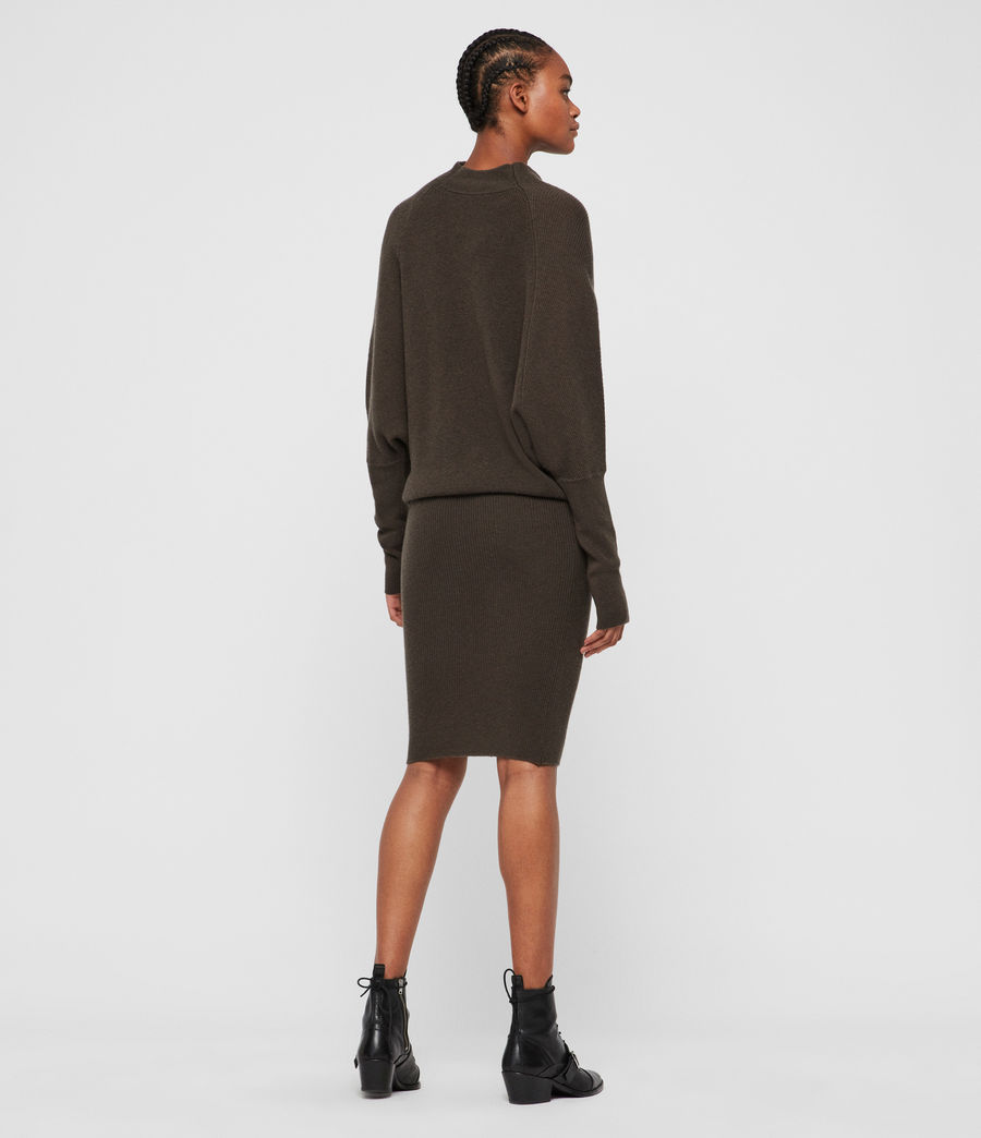 Womens Ridley Cashmere Blend Dress (khaki_green) - Image 5