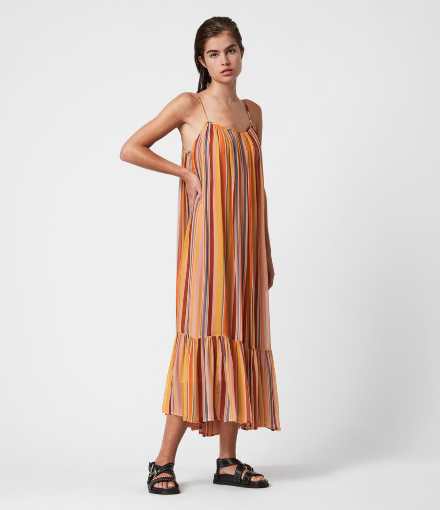 Womens Paola Stripe Dress (orange_pink) - Image 1