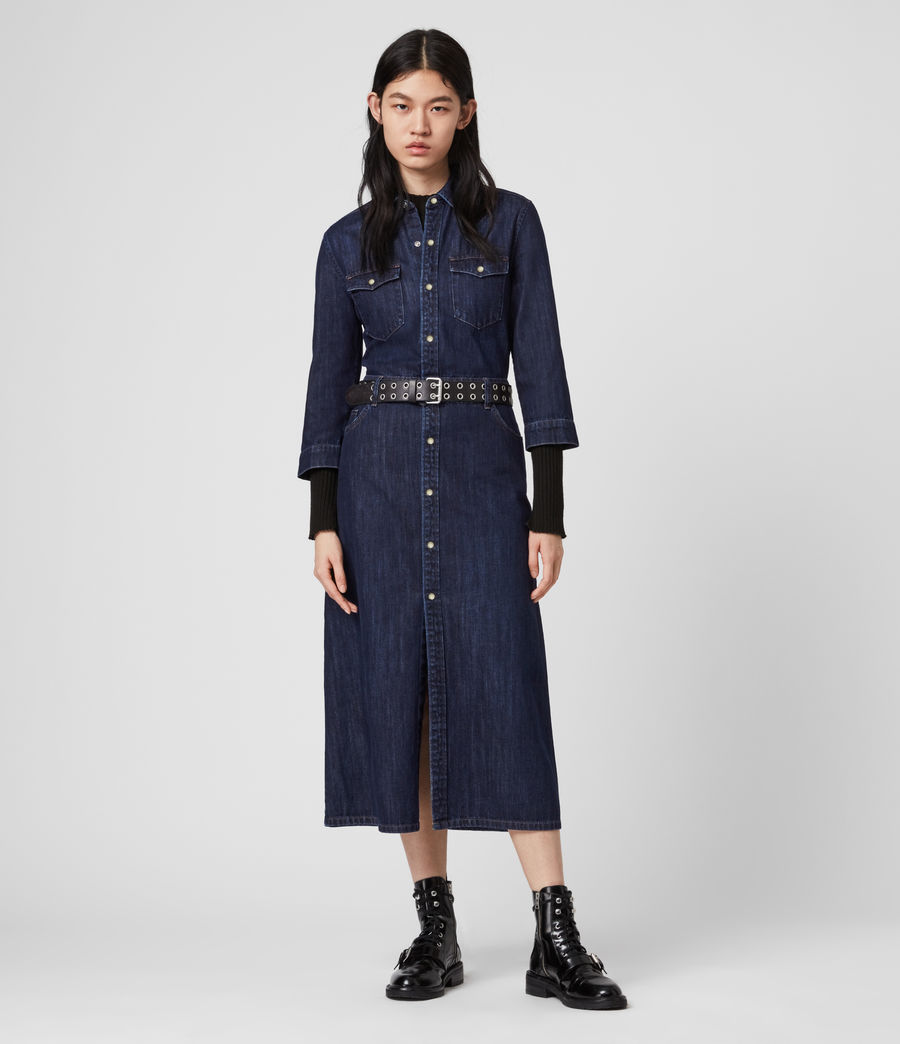 Damen Polly Denim Kleid (dark_indigo_blue) - Image 1