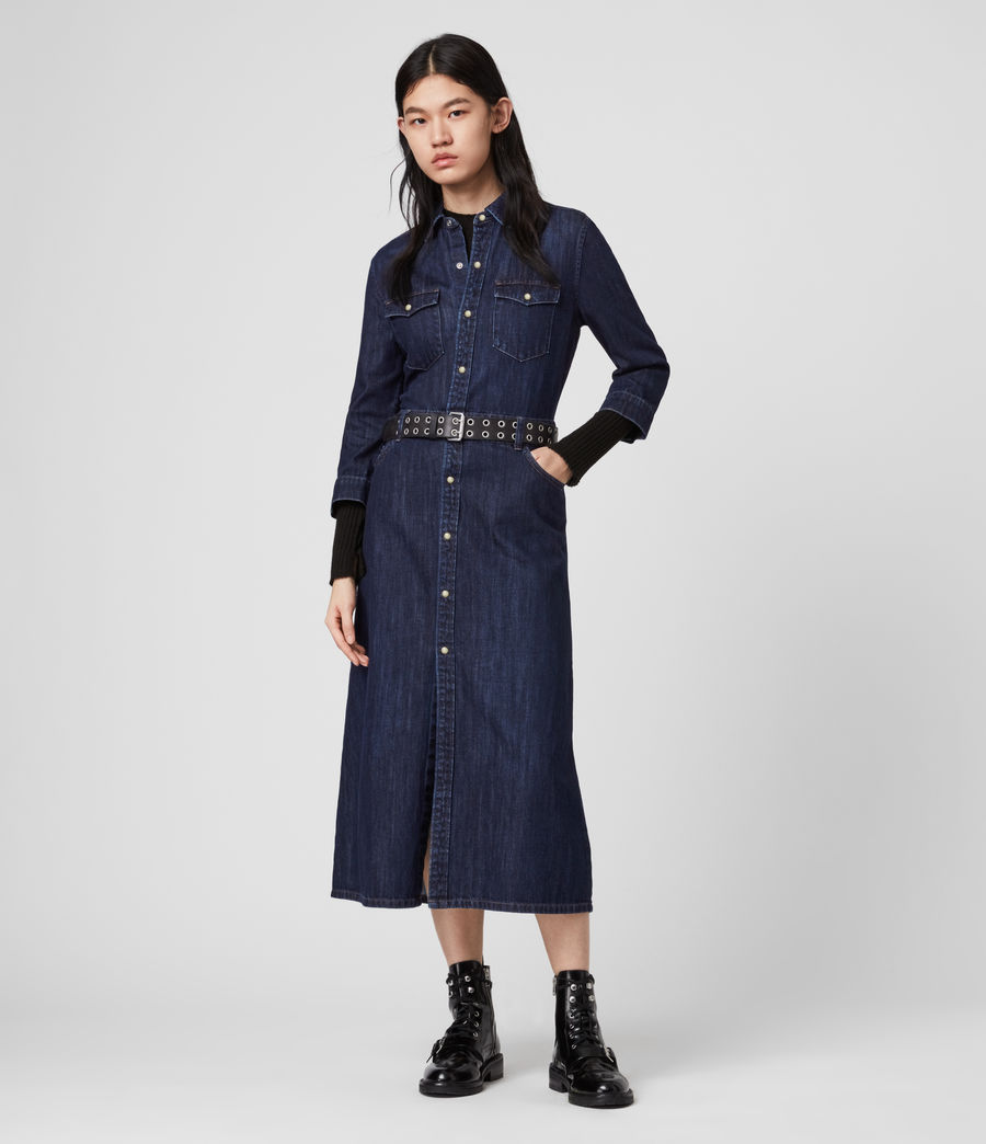 Damen Polly Denim Kleid (dark_indigo_blue) - Image 3
