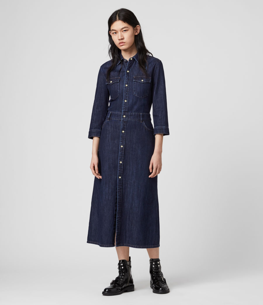 Damen Polly Denim Kleid (dark_indigo_blue) - Image 4