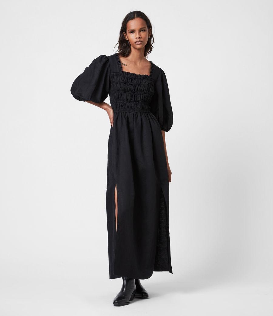 Damen Livi Leinen Kleid (black) - Image 1
