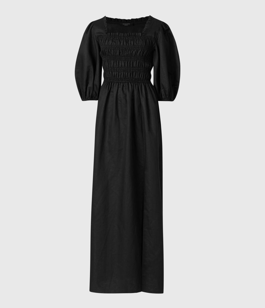 Damen Livi Leinen Kleid (black) - Image 2