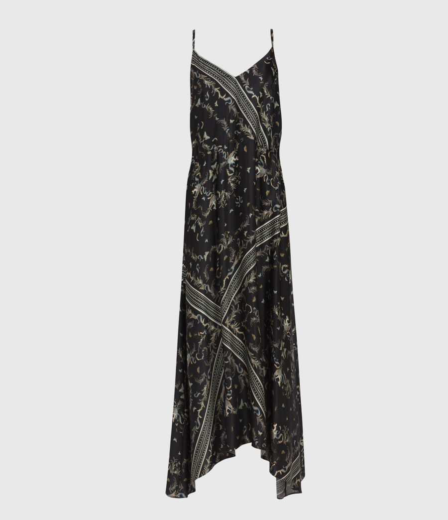 Womens Larisa Assam Silk Blend Dress (black) - Image 2