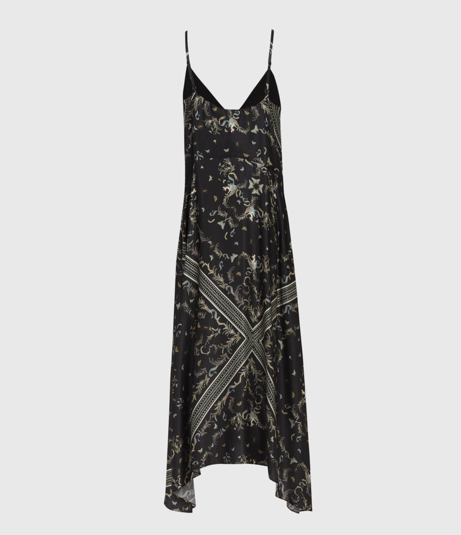 Womens Larisa Assam Silk Blend Dress (black) - Image 3