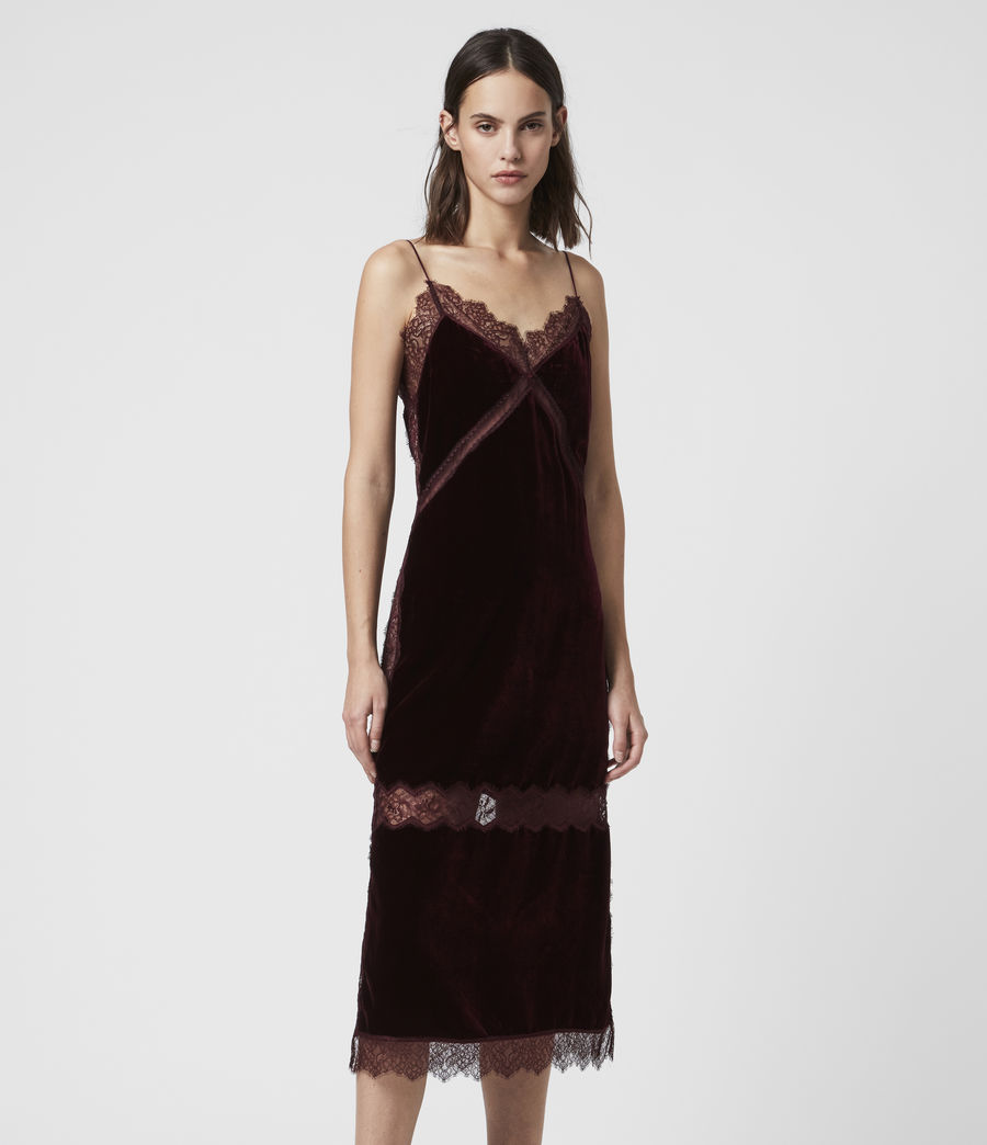 Donne Abito Noa (Lungo) - Slip-dress in velluto con pizzo (oxblood_red) - Image 1