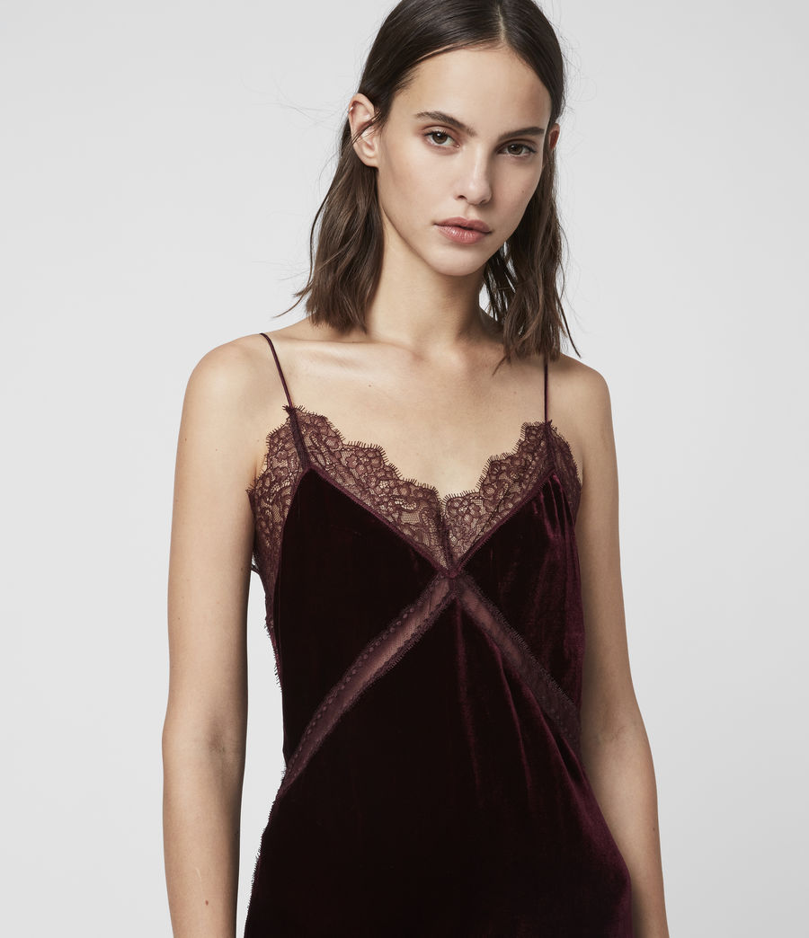 Donne Abito Noa (Lungo) - Slip-dress in velluto con pizzo (oxblood_red) - Image 2