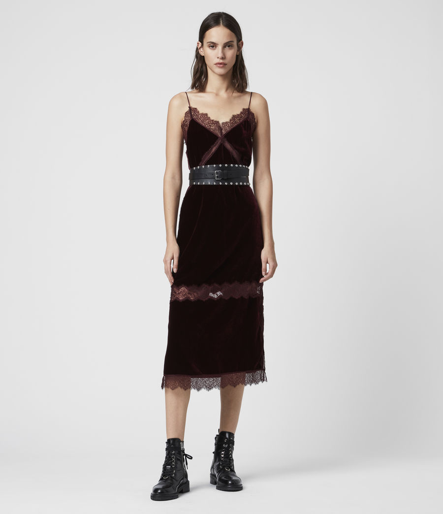 Donne Abito Noa (Lungo) - Slip-dress in velluto con pizzo (oxblood_red) - Image 3
