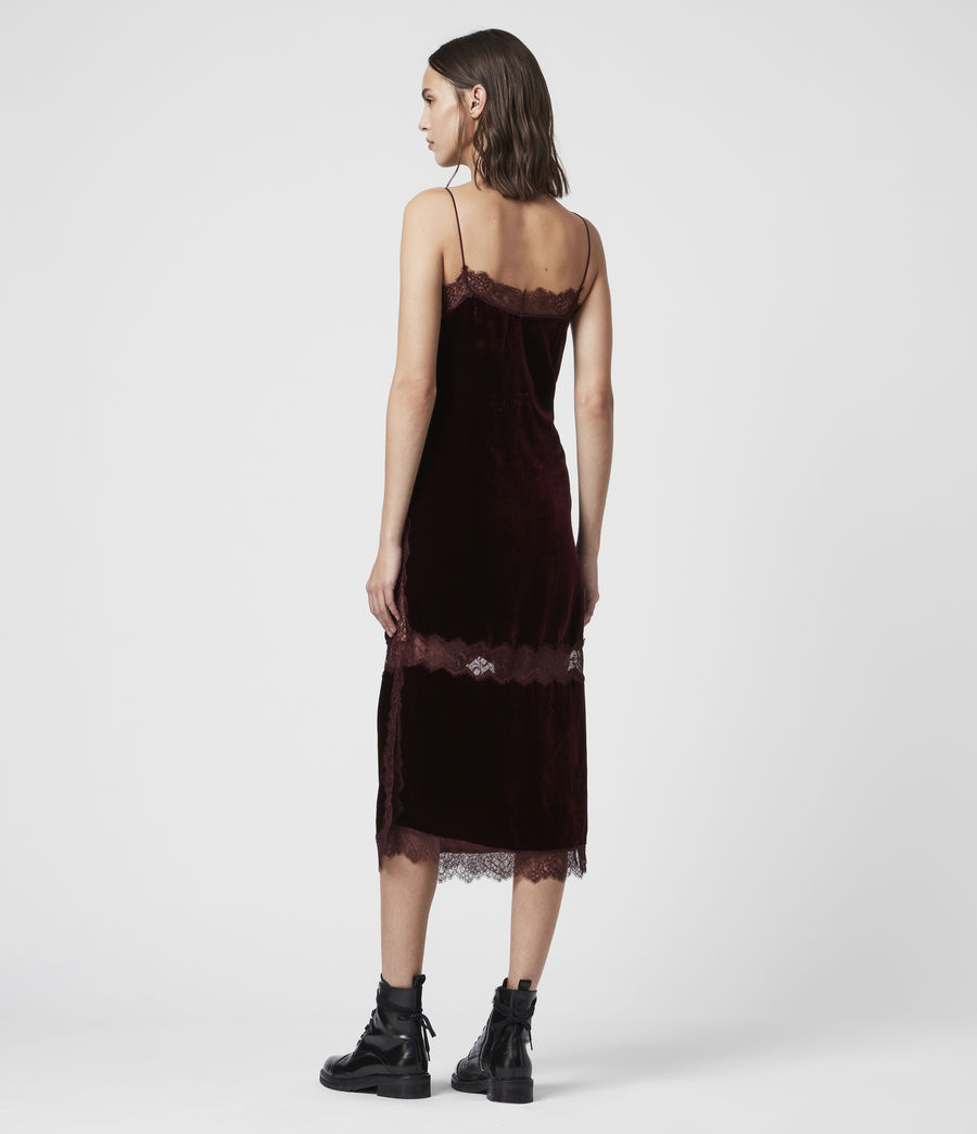 Donne Abito Noa (Lungo) - Slip-dress in velluto con pizzo (oxblood_red) - Image 4