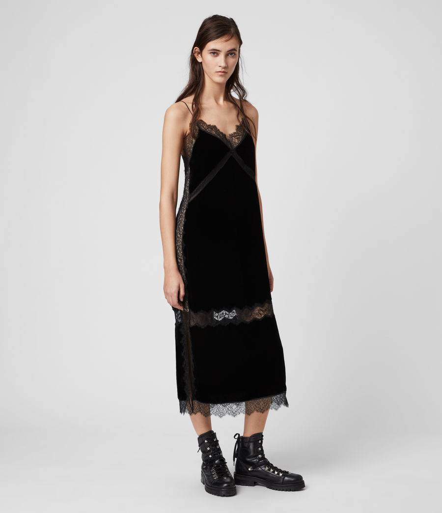 Womens Noa Long Velvet Dress (black) - Image 1