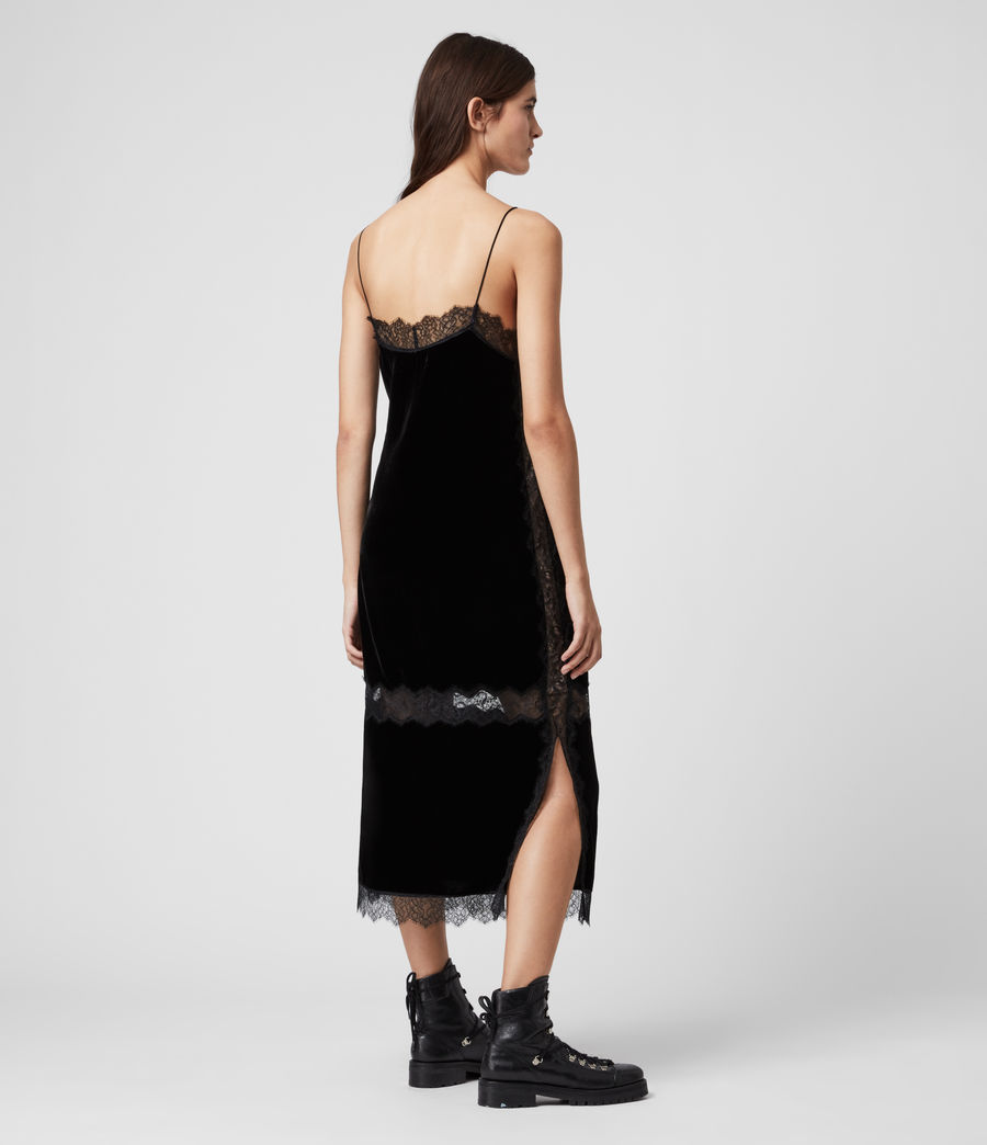 Womens Noa Long Velvet Dress (black) - Image 5