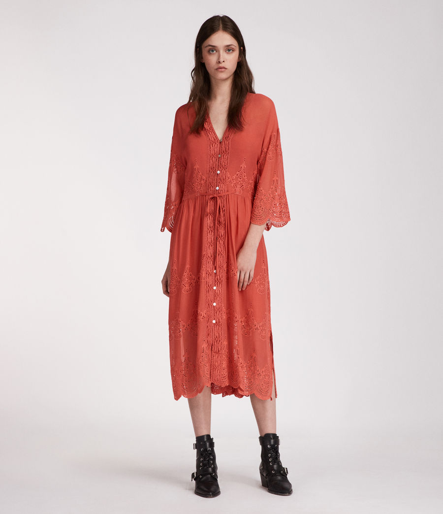 Women's Aileen Zinnia Dress (coral_red) - Image 1