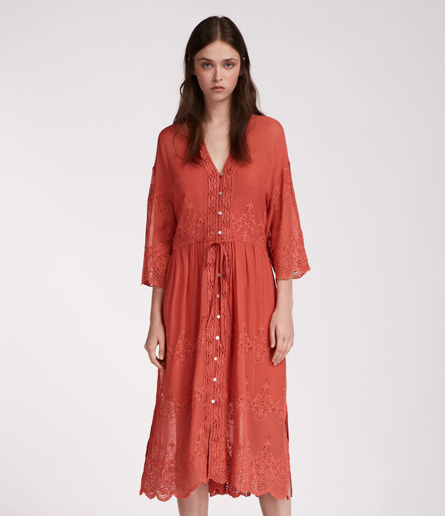 Women's Aileen Zinnia Dress (coral_red) - Image 2