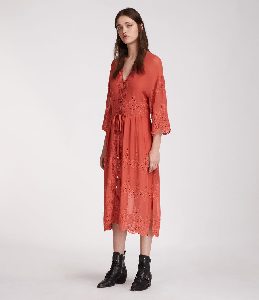 Women's Aileen Zinnia Dress (coral_red) - Image 3
