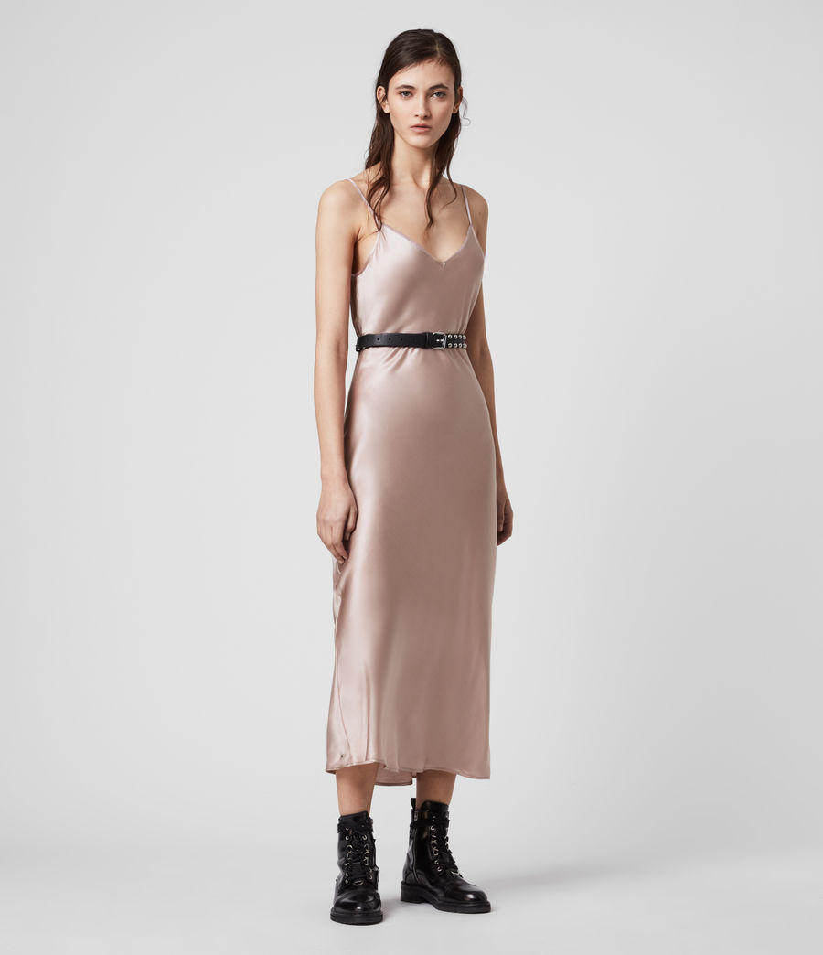 Donne Slip dress Tierney - In misto seta (dusty_pink) - Image 3