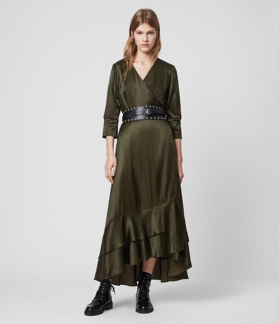 Mujer Tage Silk Blend Satin Dress (military_green) - Image 1