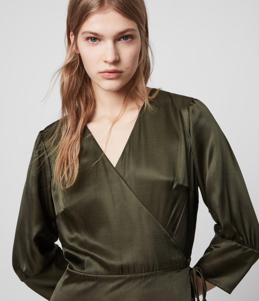 Mujer Tage Silk Blend Satin Dress (military_green) - Image 2