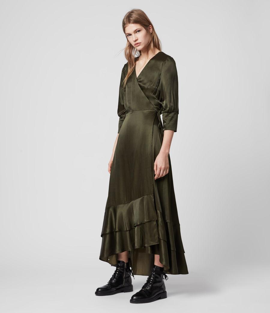 Mujer Tage Silk Blend Satin Dress (military_green) - Image 3