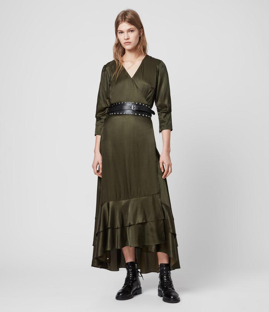 Mujer Tage Silk Blend Satin Dress (military_green) - Image 4