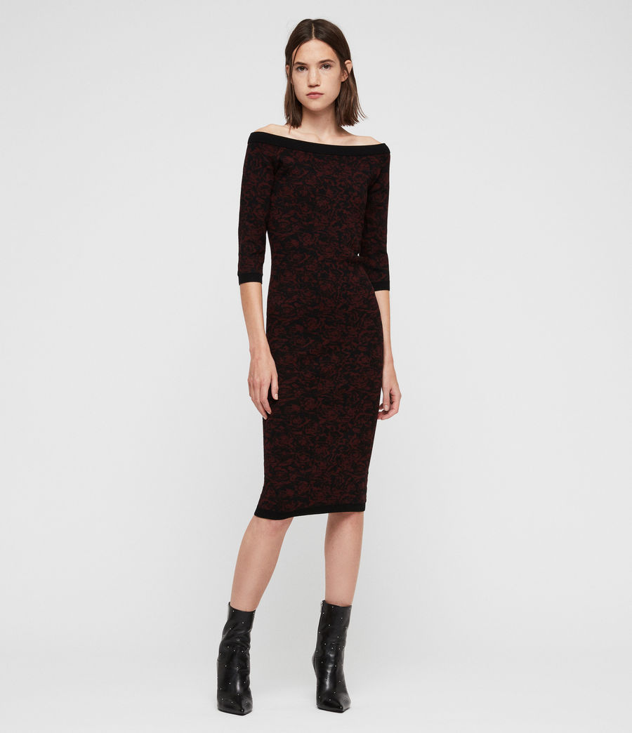 Women's Ana Rose Dress (black_bordeaux) - Image 3