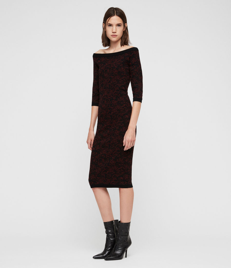 Women's Ana Rose Dress (black_bordeaux) - Image 4
