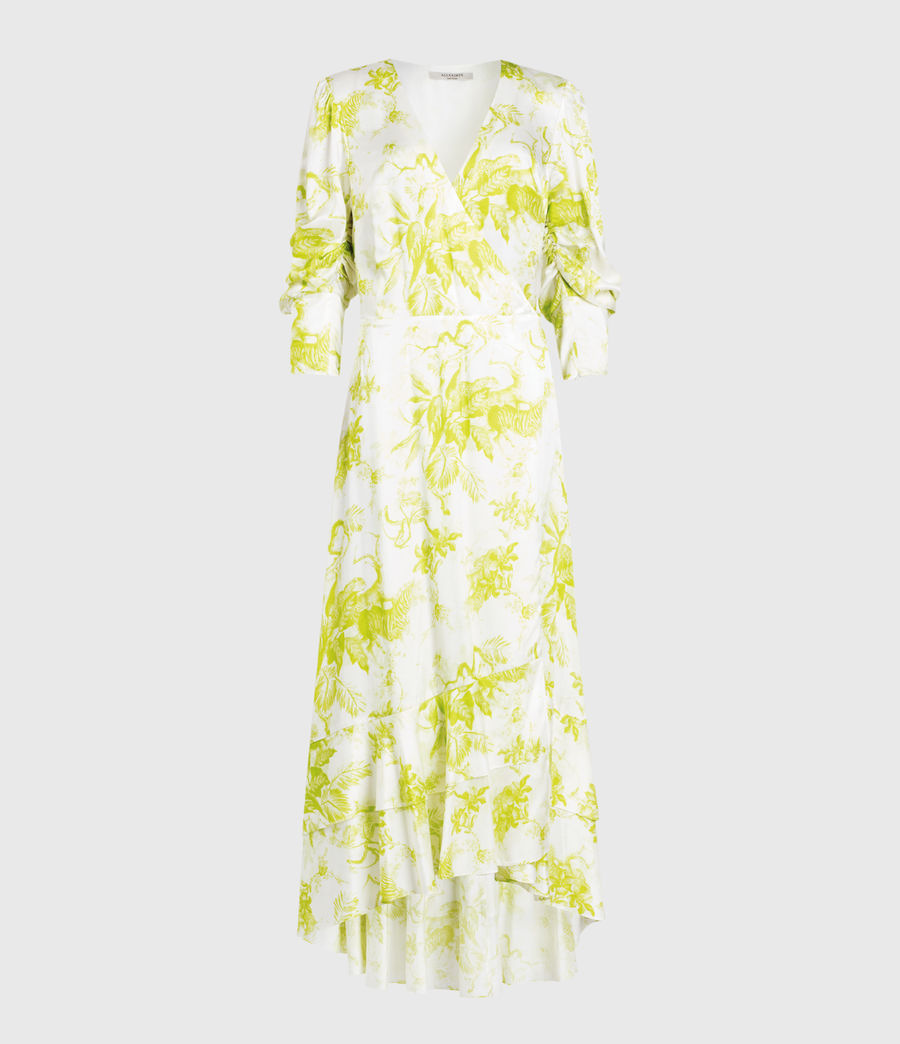 Mujer Tage Riyaz Silk Blend Dress (chartreuse_yellow) - Image 1