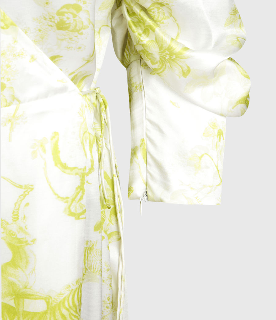 Mujer Tage Riyaz Silk Blend Dress (chartreuse_yellow) - Image 4