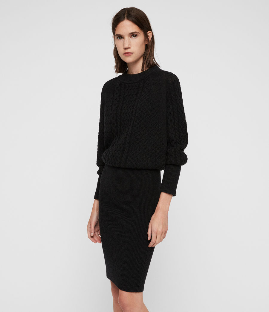Womens Dilone Dress (cinder_black_marl) - Image 4