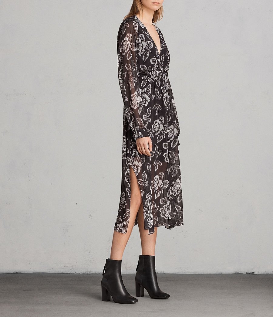 Women's Nichola Kasuri Dress (Washed Black) - Image 3