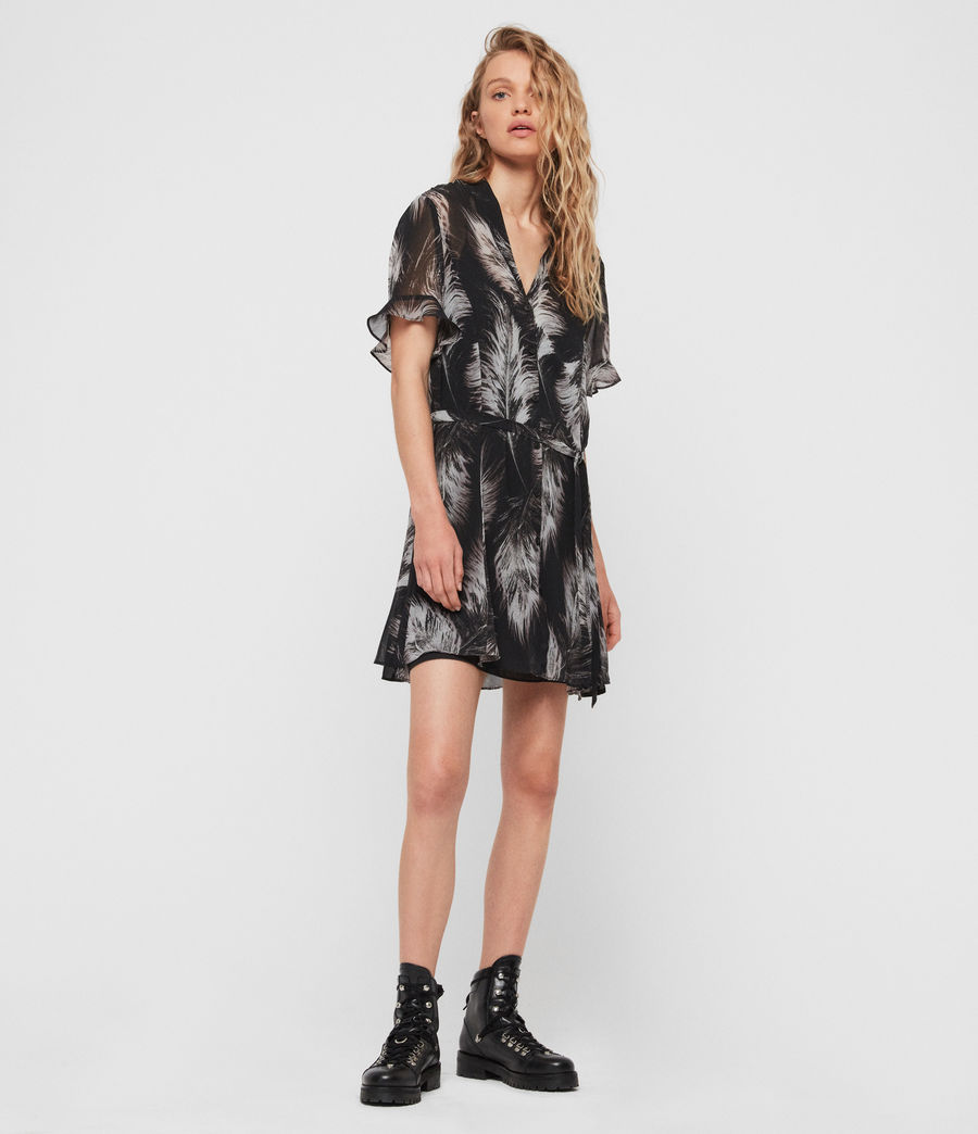 Femmes Robe Fay Feathers (black) - Image 1