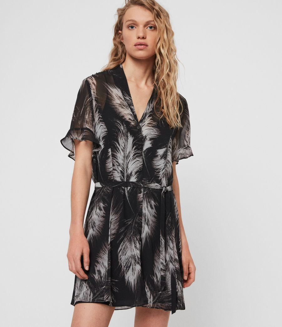 Damen Fay Feathers Kleid (black) - Image 2