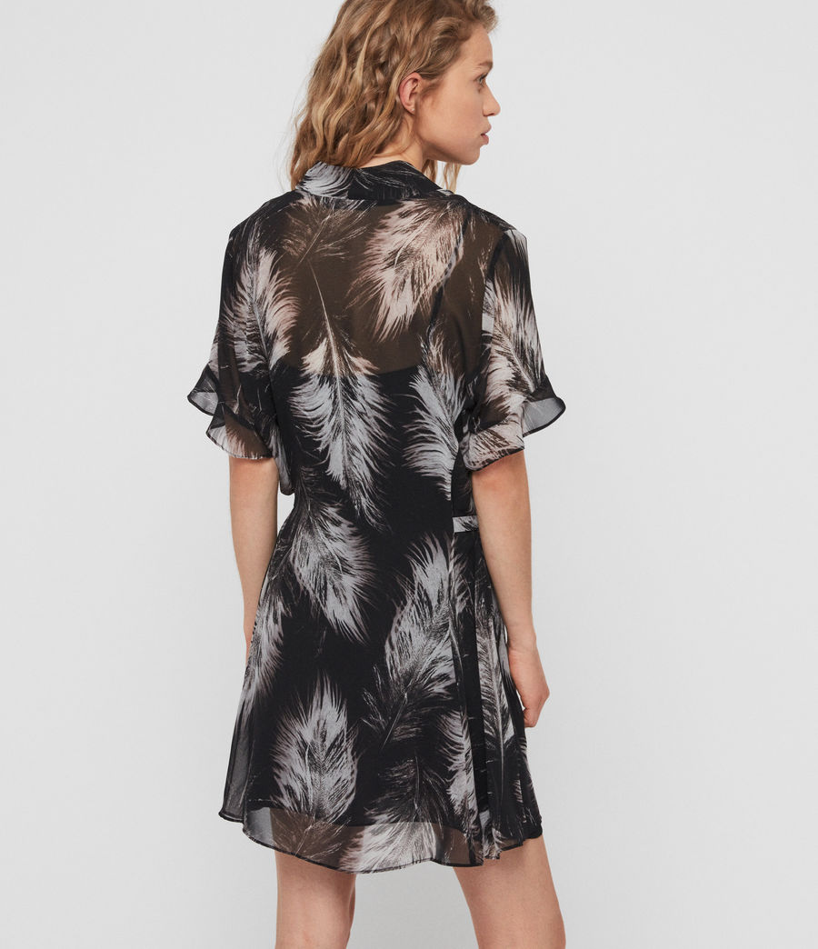Damen Fay Feathers Kleid (black) - Image 4