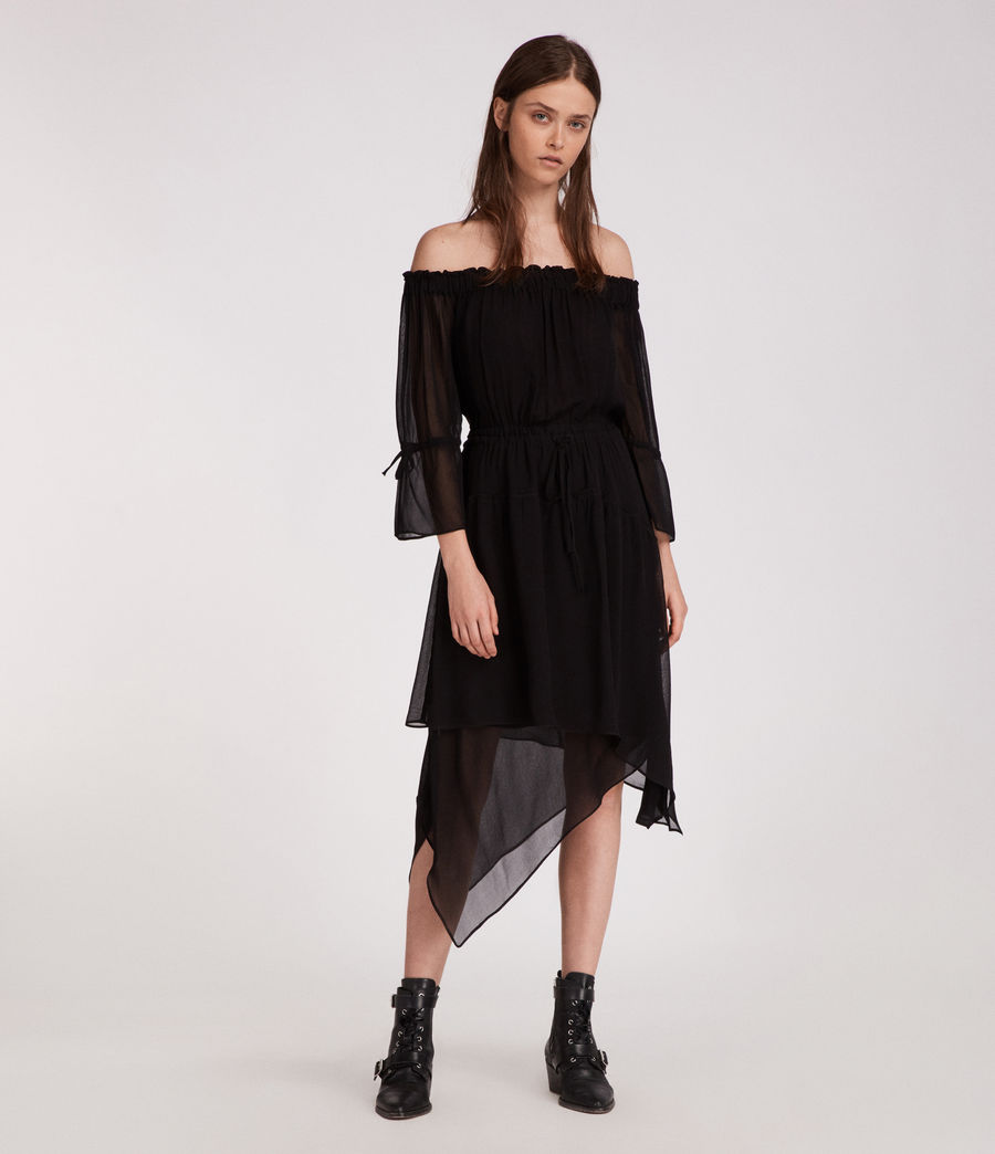 Womens Rina Dress (black) - Image 3