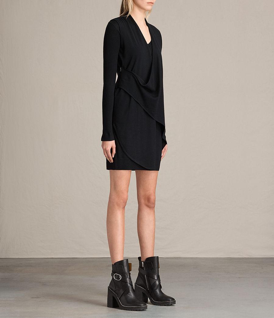 Womens Drina V-Neck Dress (black) - Image 3