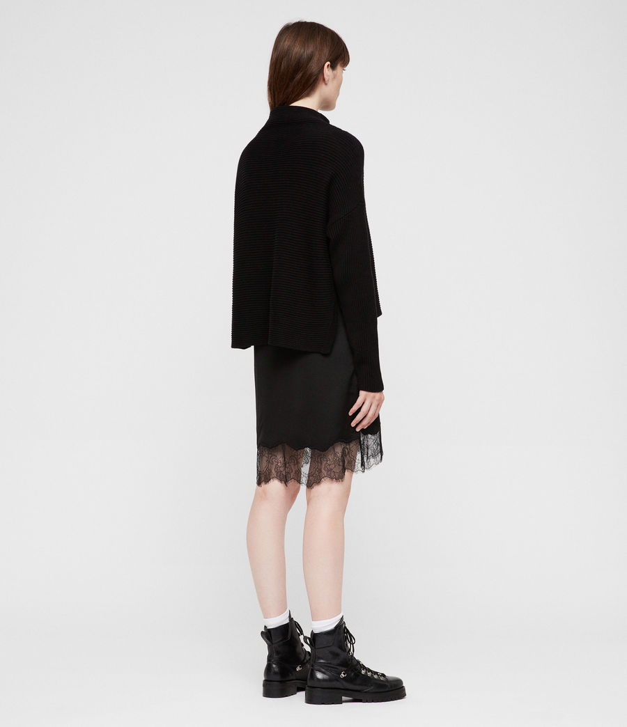 Womens Eloise Funnel Neck Dress (black) - Image 3