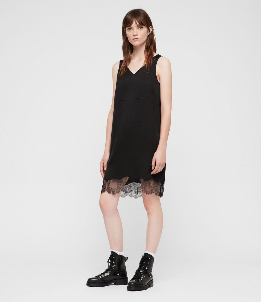 Womens Eloise Funnel Neck Dress (black) - Image 5