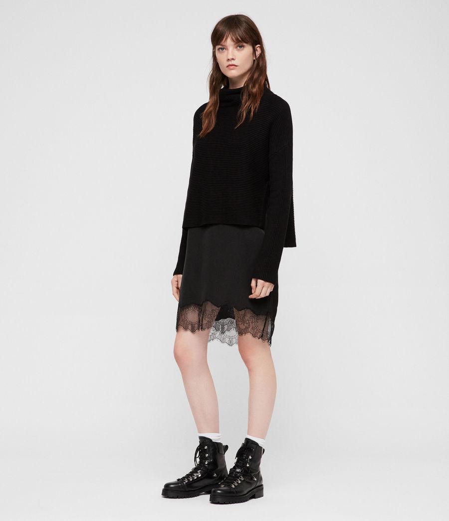 Womens Eloise Funnel Neck Dress (black) - Image 6