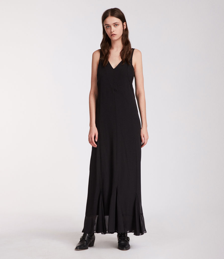 Women's Cleo Long Dress (black) - Image 4